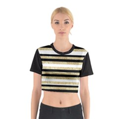 Gold Glitter and Black Stripes Cotton Crop Top