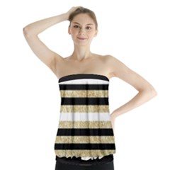Gold Glitter and Black Stripes Strapless Top