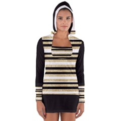 Gold Glitter And Black Stripes Women s Long Sleeve Hooded T Shirt