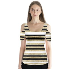 Gold Glitter And Black Stripes Butterfly Sleeve Cutout Tee