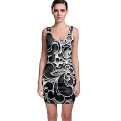 Floral High Contrast Pattern Sleeveless Bodycon Dress
