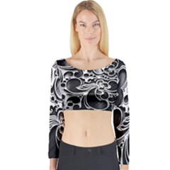 Floral High Contrast Pattern Long Sleeve Crop Top