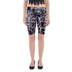 Floral High Contrast Pattern Yoga Cropped Leggings
