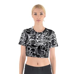 Floral High Contrast Pattern Cotton Crop Top