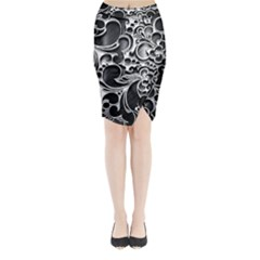 Floral High Contrast Pattern Midi Wrap Pencil Skirt