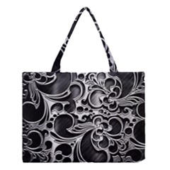 Floral High Contrast Pattern Medium Tote Bag