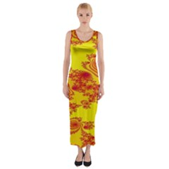 Floral Fractal Pattern Fitted Maxi Dress
