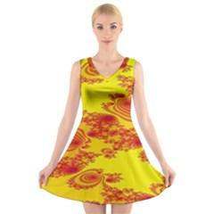 Floral Fractal Pattern V-Neck Sleeveless Skater Dress