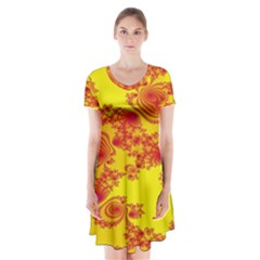 Floral Fractal Pattern Short Sleeve V-neck Flare Dress