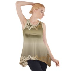 Floral Decoration Side Drop Tank Tunic