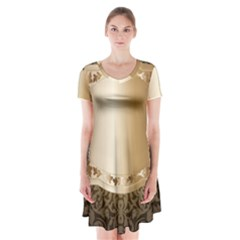 Floral Short Sleeve V-neck Flare Dress