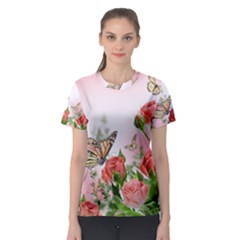 Floral Butterfly Roses Women s Sport Mesh Tee