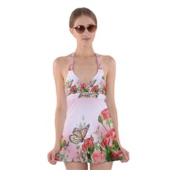 Floral Butterfly Roses Halter Swimsuit Dress