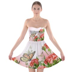 Floral Butterfly Roses Strapless Bra Top Dress