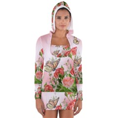 Floral Butterfly Roses Women s Long Sleeve Hooded T-shirt