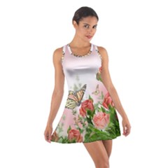 Floral Butterfly Roses Cotton Racerback Dress