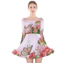 Floral Butterfly Roses Long Sleeve Velvet Skater Dress
