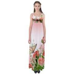 Floral Butterfly Roses Empire Waist Maxi Dress