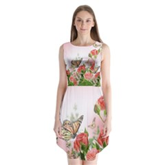 Floral Butterfly Roses Sleeveless Chiffon Dress