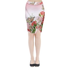 Floral Butterfly Roses Midi Wrap Pencil Skirt