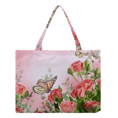 Floral Butterfly Roses Medium Tote Bag