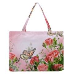 Floral Butterfly Roses Medium Zipper Tote Bag