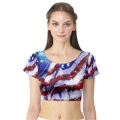 Flag Usa United States Of America Images Independence Day Short Sleeve Crop Top (Tight Fit)