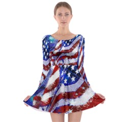 Flag Usa United States Of America Images Independence Day Long Sleeve Skater Dress