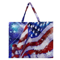 Flag Usa United States Of America Images Independence Day Zipper Large Tote Bag