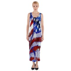 Flag Usa United States Of America Images Independence Day Fitted Maxi Dress