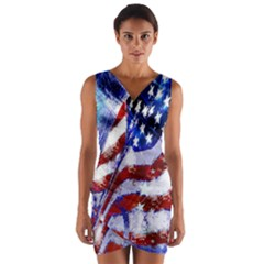 Flag Usa United States Of America Images Independence Day Wrap Front Bodycon Dress