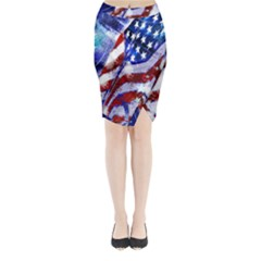 Flag Usa United States Of America Images Independence Day Midi Wrap Pencil Skirt