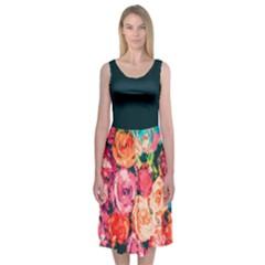 Rosette Garden Midi Sleeveless Dress