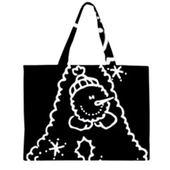 Funny Snowball Doodle Black White Zipper Large Tote Bag