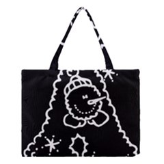 Funny Snowball Doodle Black White Medium Tote Bag