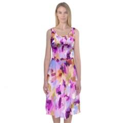Lila Bohemian Chic Brushstrokes Midi Sleeveless Dress