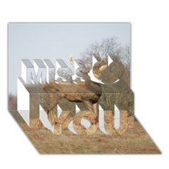 Red Deer Stag on a Hill Miss You 3D Greeting Card (7x5)