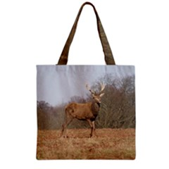 Red Deer Stag on a Hill Grocery Tote Bag