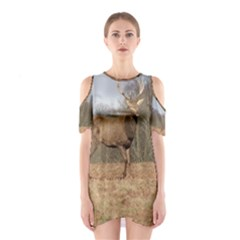 Red Deer Stag on a Hill Cutout Shoulder Dress