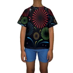 Fireworks With Star Vector Kids  Short Sleeve Swimwear