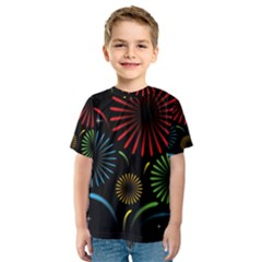 Fireworks With Star Vector Kids  Sport Mesh Tee