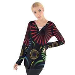 Fireworks With Star Vector Women s Tie Up Tee