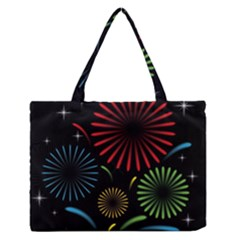 Fireworks With Star Vector Medium Zipper Tote Bag