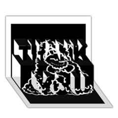 Funny Snowball Doodle Black White THANK YOU 3D Greeting Card (7x5)