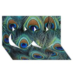 Feathers Art Peacock Sheets Patterns Twin Hearts 3D Greeting Card (8x4)