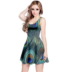 Feathers Art Peacock Sheets Patterns Reversible Sleeveless Dress