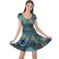 Feathers Art Peacock Sheets Patterns Cap Sleeve Dresses