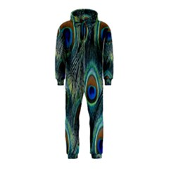 Feathers Art Peacock Sheets Patterns Hooded Jumpsuit (Kids)