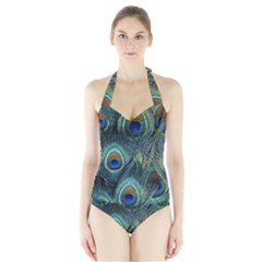 Feathers Art Peacock Sheets Patterns Halter Swimsuit