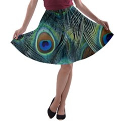 Feathers Art Peacock Sheets Patterns A-line Skater Skirt